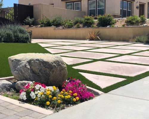 artificial grass lawn and strips